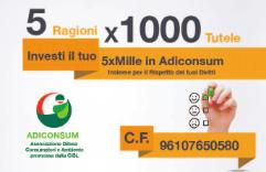 Partita la Campagna Fiscale 2016. Dona il 5 x 1000 ad ADICONSUM Lecce. A te non costa nulla ma avrai tanti vantaggi. Aiutaci per poterti aiutare. Scrivi il C.F. 96107650580