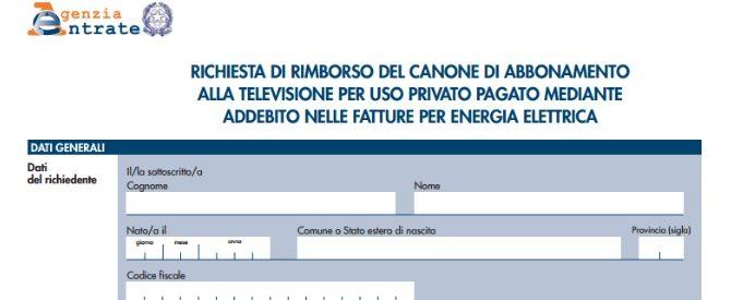 Richiesta di rimborso del canone TV addebitato nella fatture elettriche