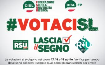 Elezioni Rsu pubblico impiego 17 18 19 aprile 2018. VOTA_CISL